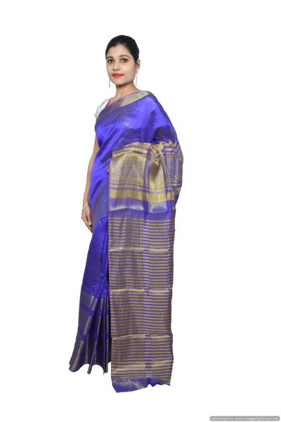 Blue Banglore Silk Saree with Running Blouse Fabric BGS13