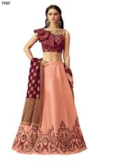 Designer Maroon Silk Lehenga Skirt With Semi Stitched Blouse and Dupatta