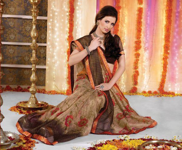 Supernet Cotton Lacer Printed Brown green multi saree sari SC1116