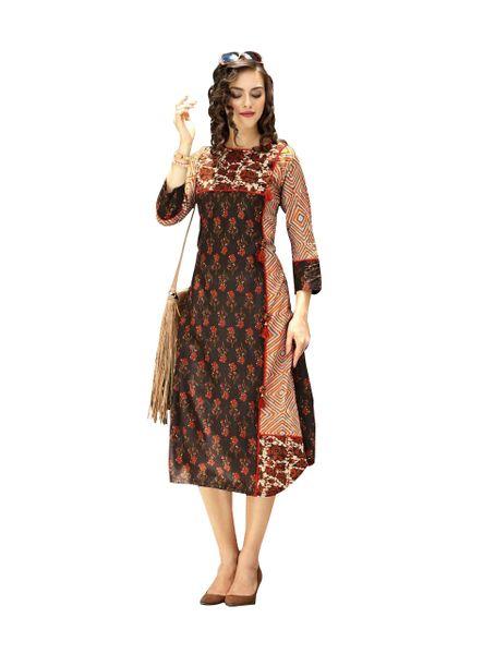 Designer Brown Cotton Printed Long Kurti Kurta Dress Style Size 42 XL SC1002
