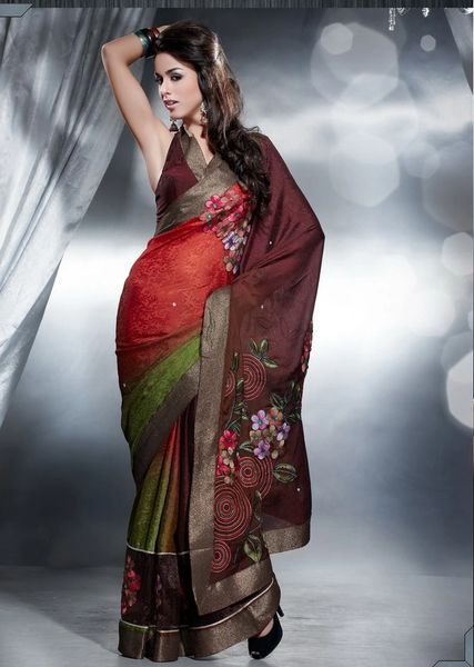 Designer Red Brown Jequard Crepe Embroidered Saree SC402