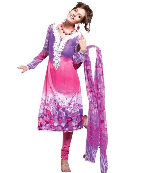 Cotton Pink/Purple Salwar Kameez Churidar Fabric SC8137B