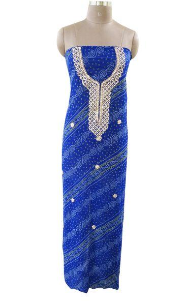 Jaipuri Bandhej Georgette Gotta Patti work Royal Blue Kurti Kurta Fabric GP80