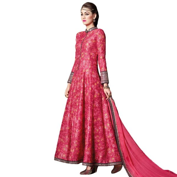 Designer Semi Stitched Indo Western Fusion Wear Long Dress Material V4711