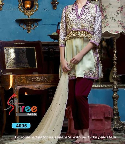 Designer Pakistani Replica Cream Georgette Dress Material Trouser Suit TM4005