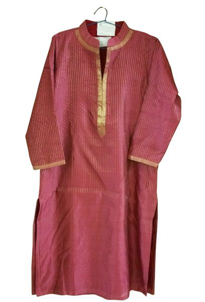 Pink Cotton Silk With Lining Kurta