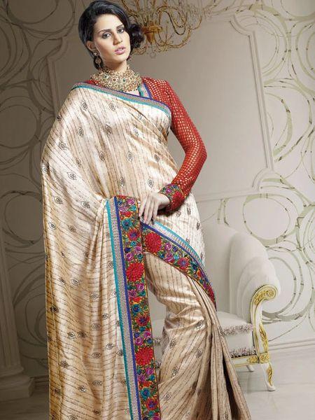 Designer Beige Dupion Embroidered Saree SC1518
