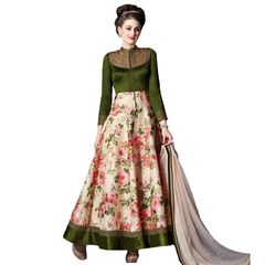 Designer Semi Stitched Indo Western Fusion Wear Long Dress Material V4706
