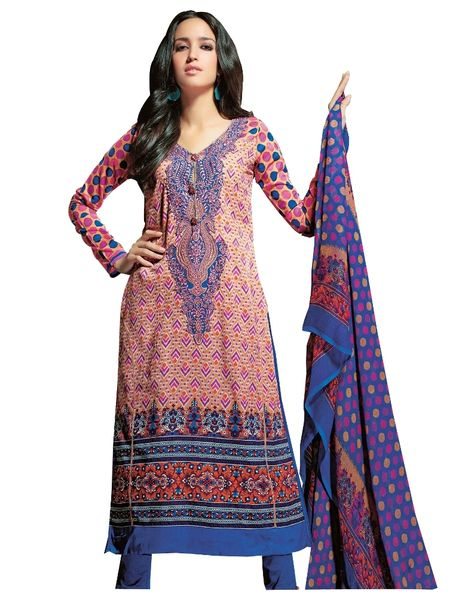 Resham Yoke Embroidered Printed Cotton Dress Material SC2734