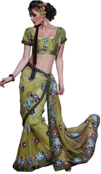 Designer Olive Green Net Embroidered saree SC118