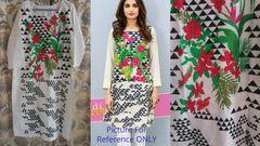 Designer Semi Stitched Off White Pakistani Embroidered Kurti Kurta Tunic PK13
