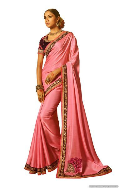 Pink Satin Saree with Embroidered Blouse Fabric