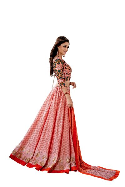 Designer Stitched Peach Color Chanderi Lehenga Ghagra Choli Dupatta Skirt Crop Top SIZE L 40 SC1009