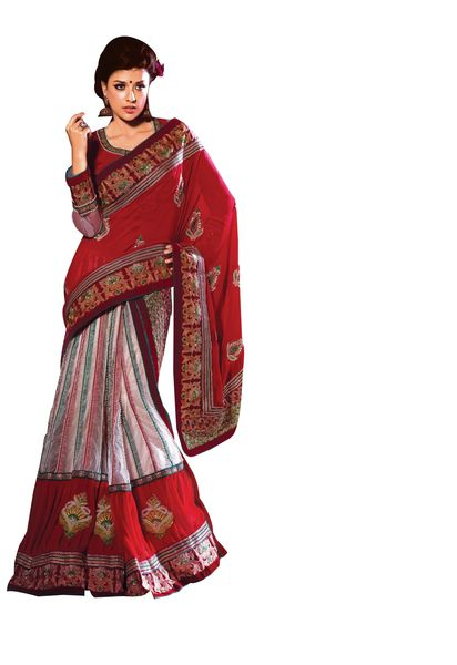 Red White Embroidered Georgette Net Lehenga Style Saree SC2122