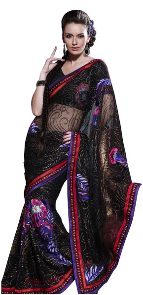 Designer Black Net Embroidered saree SC114