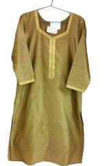 Gold Beige Chanderi Cotton Kurta