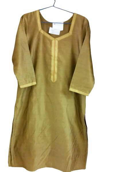 Gold Beige Chanderi Cotton Kurta