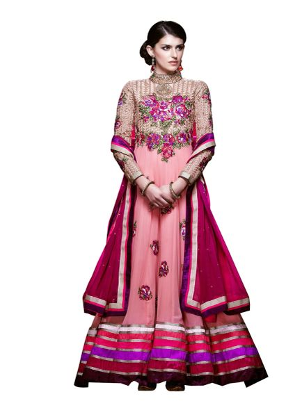 Designer Long Pink Georgette Anarkali SC305