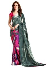 Designer Gray Faux Crepe Abstract Print Saree VAS7103A