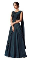 Designer Turquoise Lycra Heavy Indo Western Lehenga Saree