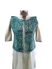 Turquoise Cotton Block Printed Ethnic Jacket