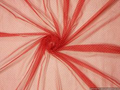 Designer Net red Foil feel Dotted Fabric embroidered for Crop Top Cut 0.9 Meter ( 99 cms )