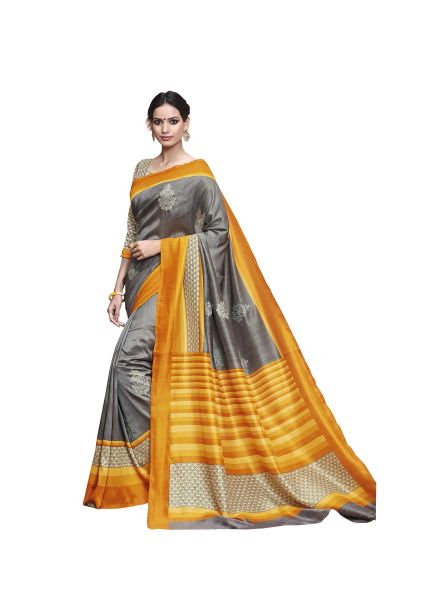 Gray Printed Soft Embroidered Thappa Silk Saree SC30242