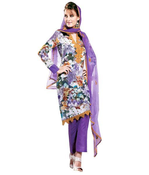 Cotton Purple Salwar Kameez Churidar Fabric SC8141C