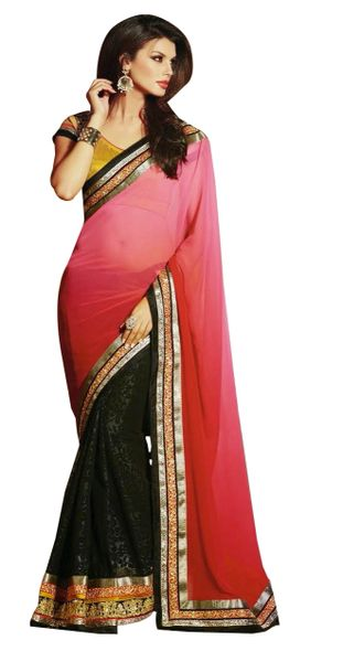 Designer Georgette Pink Embroidered Saree SC1306