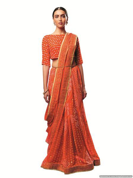 Designer Georgette Orange Bandhini Bandhej Saree