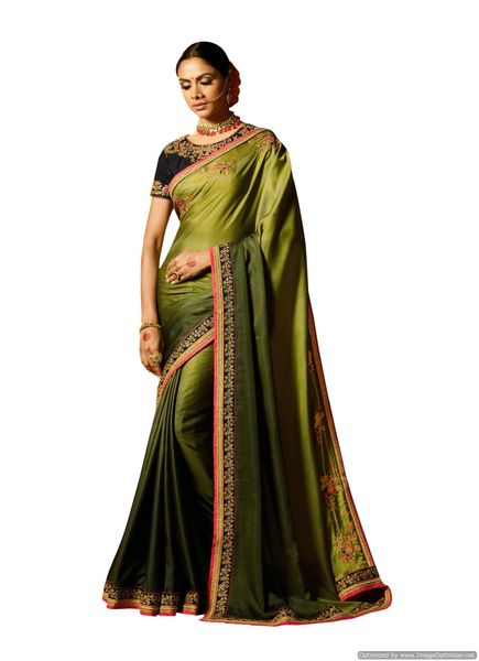 Green Satin Saree with Embroidered Blouse Fabric