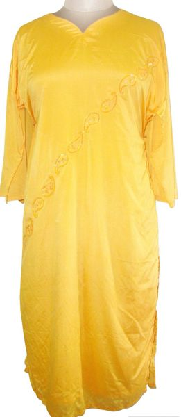 Yellow Faux Crepe Kurta