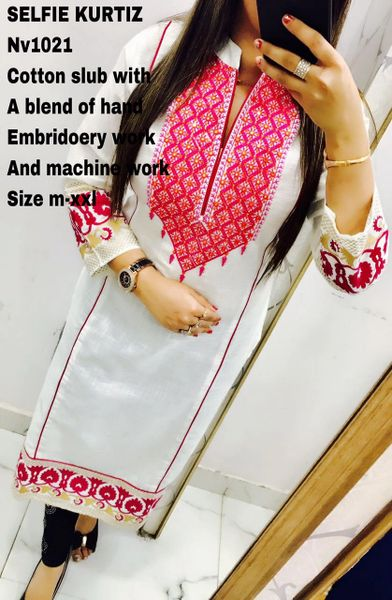 Designer Selfie Slub Cotton White Embroidered Kurti Kurta NV1021