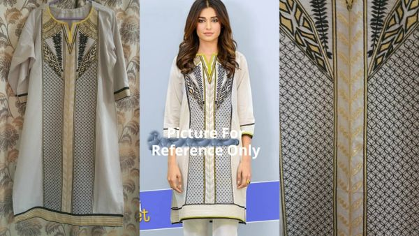 Designer Semi Stitched Off White Pakistani Embroidered Kurti Kurta Tunic PK05