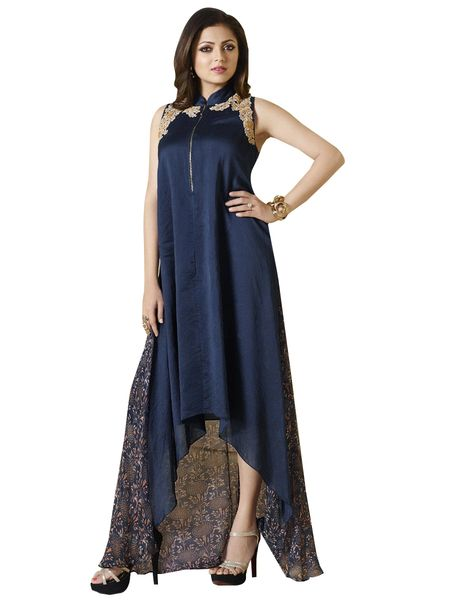 Designer Blue Chanderi Chiffon Kurti Kurta Dress Size XL SCLT901