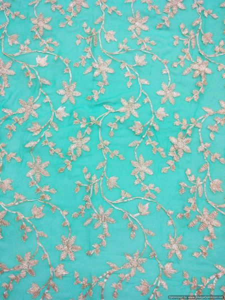 Designer Georgette Turquoise Gotta Embroidered for blouse Crop Top Cut 1.2 Meter ( 127 cms )