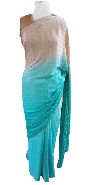 Shaded Turquoise Crepe lacer Saree with Soft Brocade Blouse Fabric ACC102