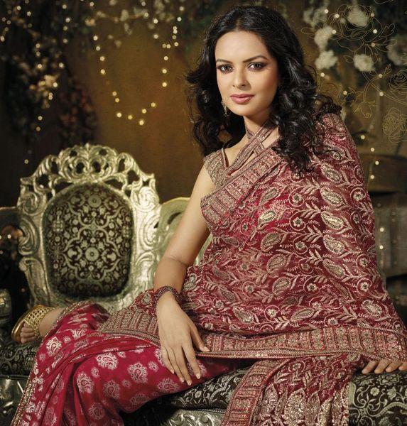 Designer Maroon Schiffli Embroidered Net saree SC9012B
