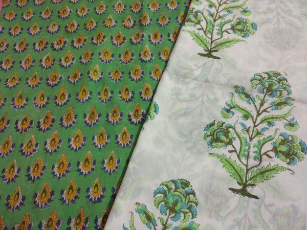 Exclusive Block Printed Kurta Palazo Pant Mughal Butta Fabric Only BP33