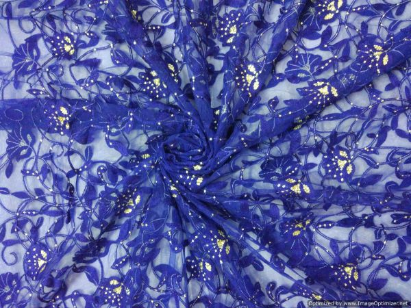 Designer Net Blue Resham Sequin Zaal work Embroidered for Dupatta,Saree Pre Cut 3.2 Meter ( 312 cms )