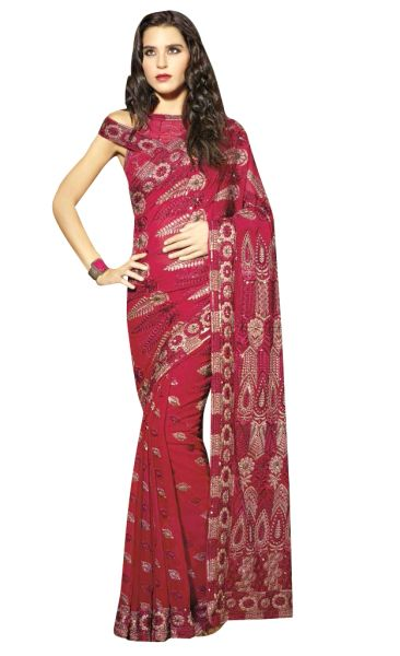 Designer Maroon Schiffli Embroidered Georgette saree SC9020A