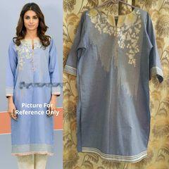 Designer Semi Stitched Blue Pakistani Embroidered Kurti Kurta Tunic PK06