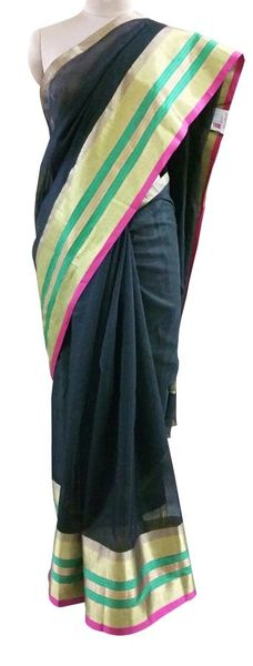 Black Silk Kota Cotton saree with Running Blouse