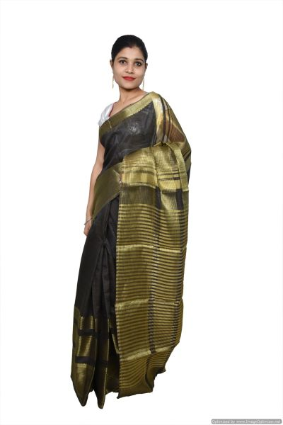 Gray Banglore Silk Saree with Running Blouse Fabric BGS01