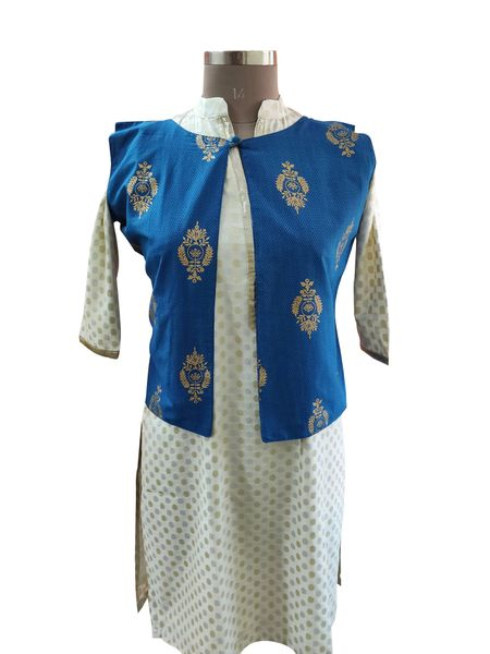 Blue Cotton Block Printed Ethnic Jacket