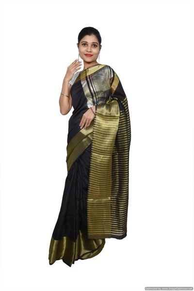 Black Banglore Saree with Running Blouse Fabric BS13