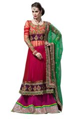 Orangish Red Purple Net Lehenga Choli Dupatta Fabric Only LC189