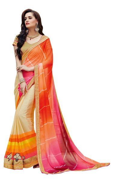 Designer Orange Bandhej Print Embellished Georgette Saree K3209