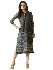 Designer Gray Rayon Kurti Kurta Dress Size XL SCLT913