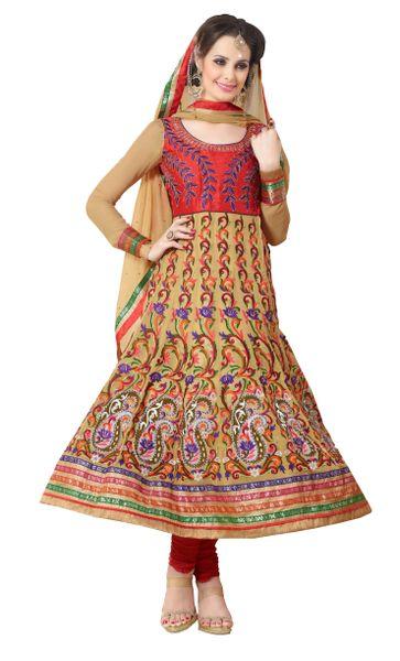 Cream Faux Georgette Semi Stitched Anarkali Dress Material SC2011